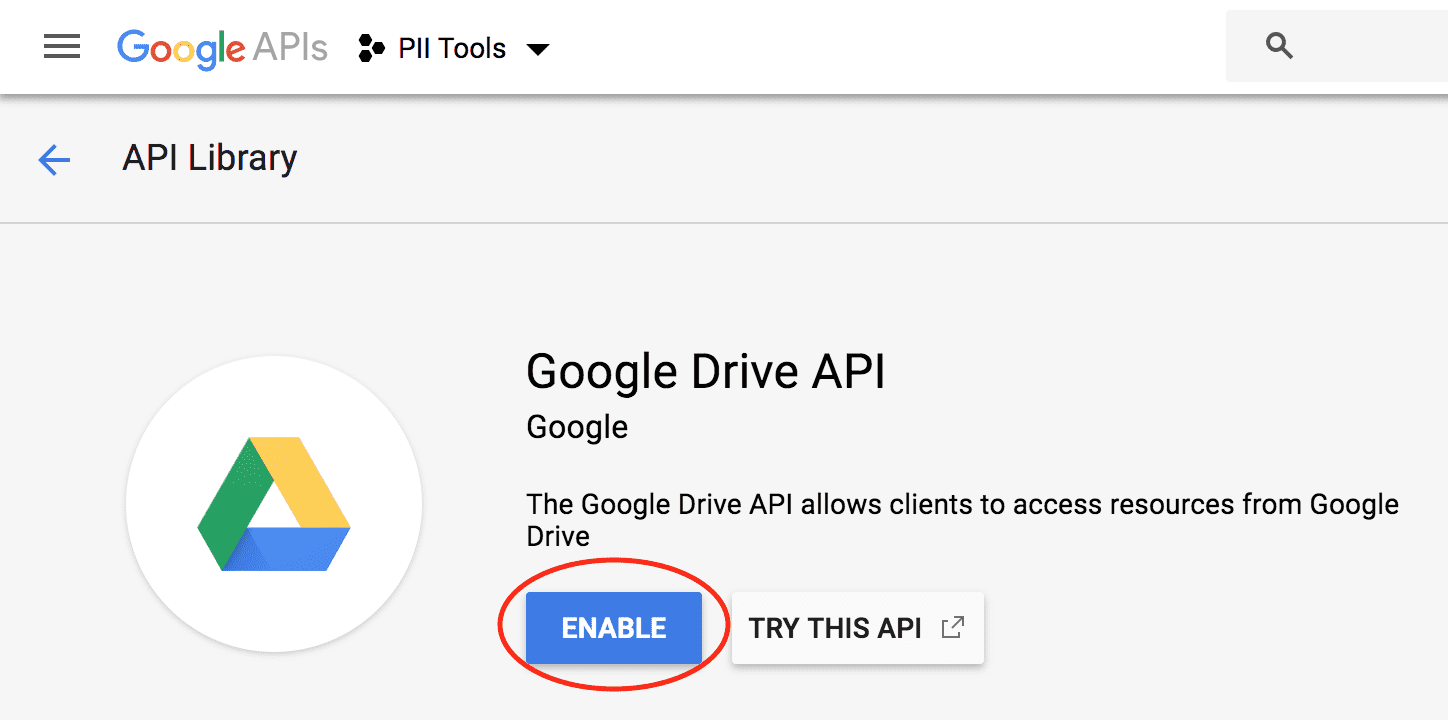 enable gdrive api